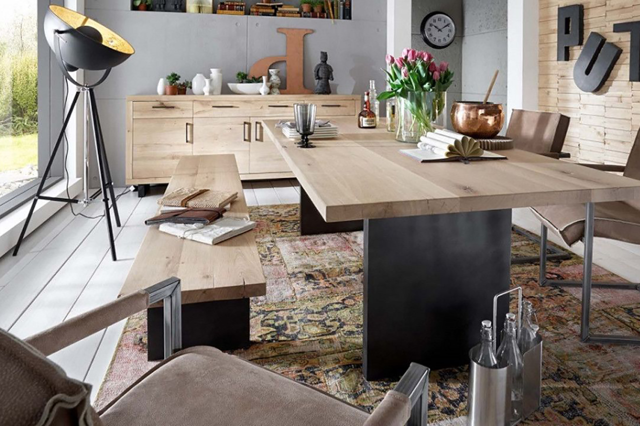 Gezelligheid aan tafel ga voor een eetbank justliveblog - Tafel een kribbe stijl industriel ...